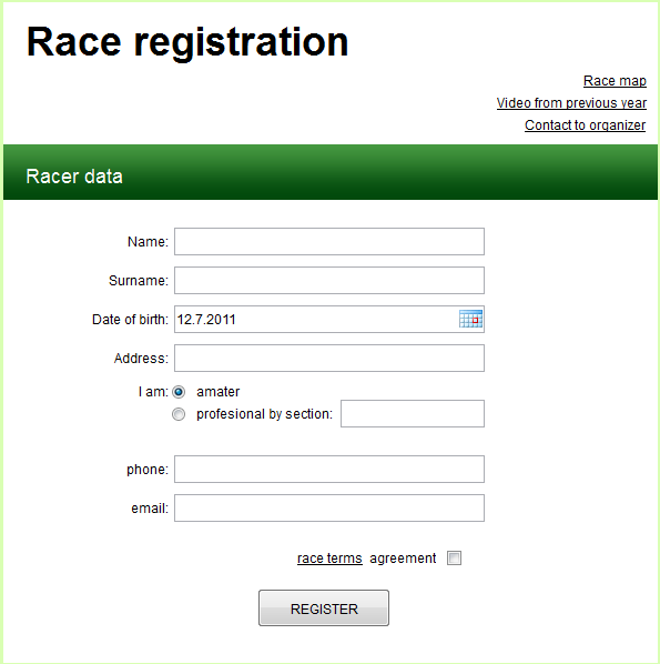 Example of registration form